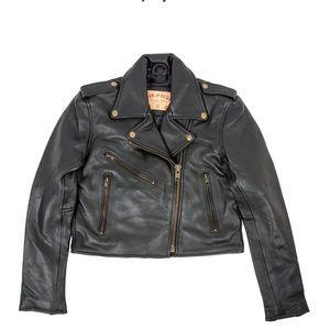 Iron & Resin Cropped Leather Biker Jacket